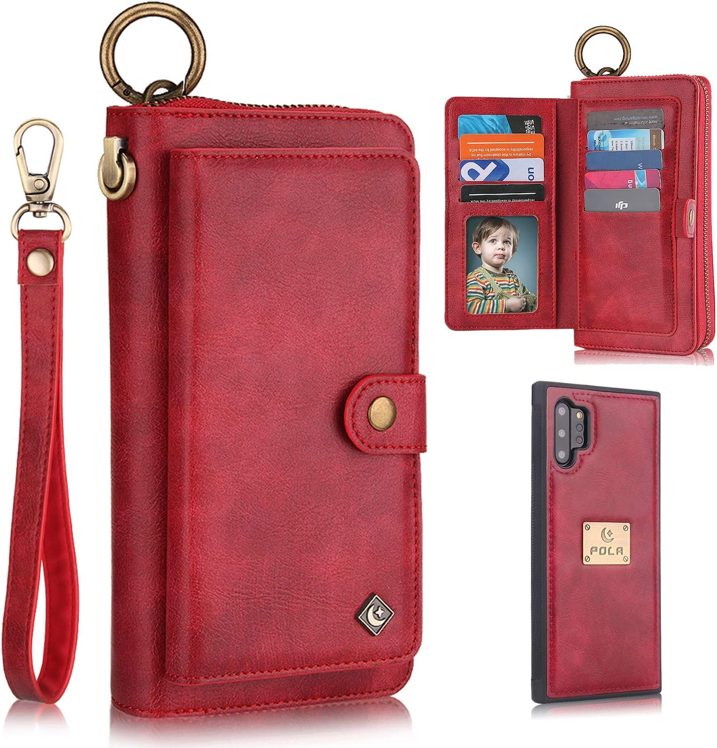 Galaxy Note 10 Plus Case, Note 10+ Plus 5G Case Wallet, XRPow [2 in 1] [Magnetic Detachable] Zipper Wallet Folio Case [Wrist Strap] Slim Leather Shock Back Cover with Credit Card Holder Purse - Red