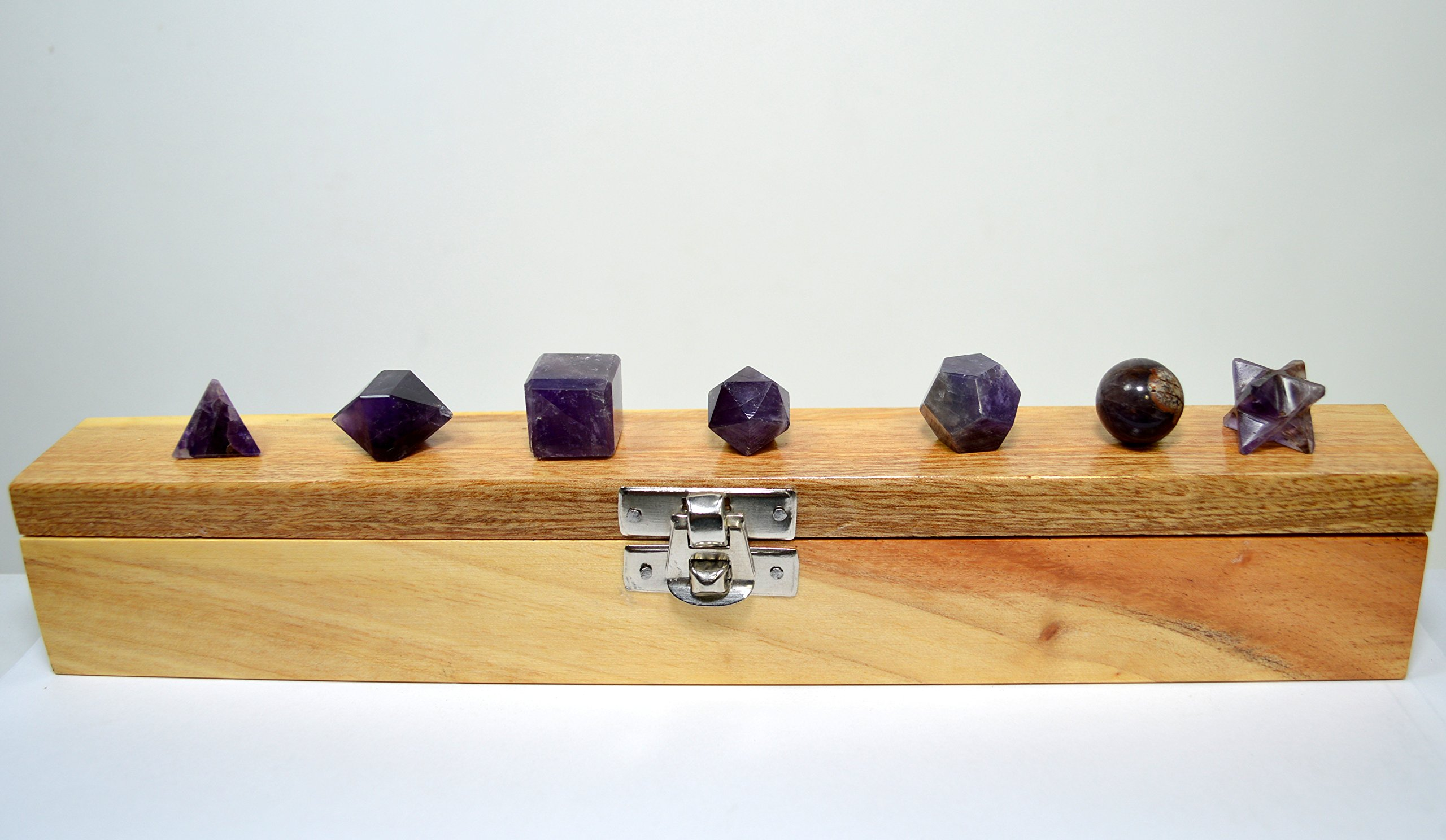 7pcs Amethyst Crystal Platonic Solids Sacred Geometry Set with Wooden Box Natural Purple Stone from India - 1 Set + One Carnelian Merkaba Star
