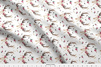 6389b51bdba Image Unavailable. Image not available for. Color: Spoonflower Skulls Fabric  - Boho Aztec Beauty Floral ...