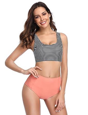 ecf5bf74b0e3d0 Amazon.com  MarinaVida Women Two Piece Bikini Swimsuit Set Crop Top High  Waisted Bathing Suit  Clothing