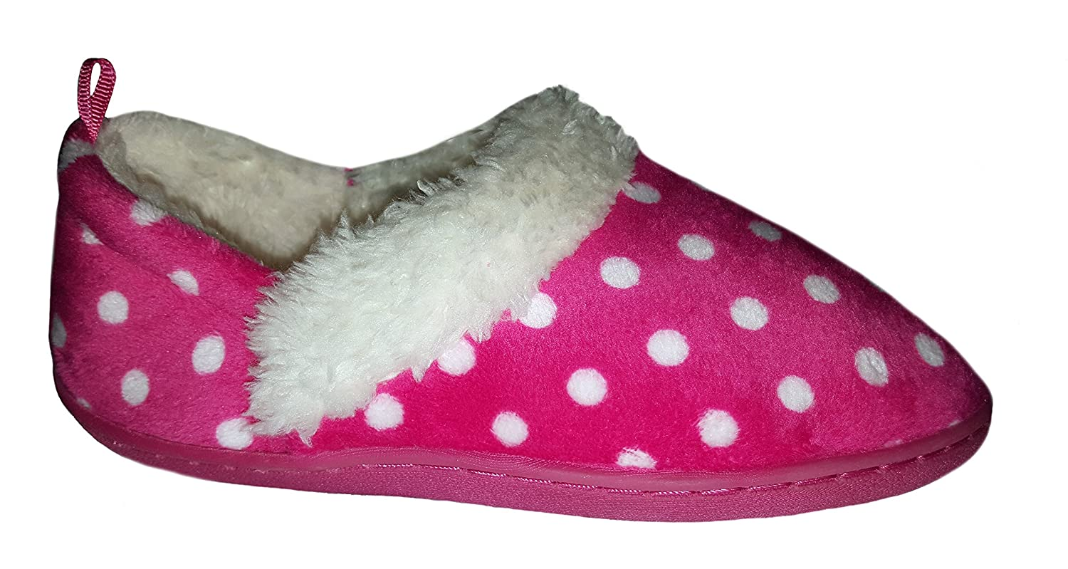 WMS Toddler Girls Pink Polka Dot Aline Loafer Style Slippers House Shoes