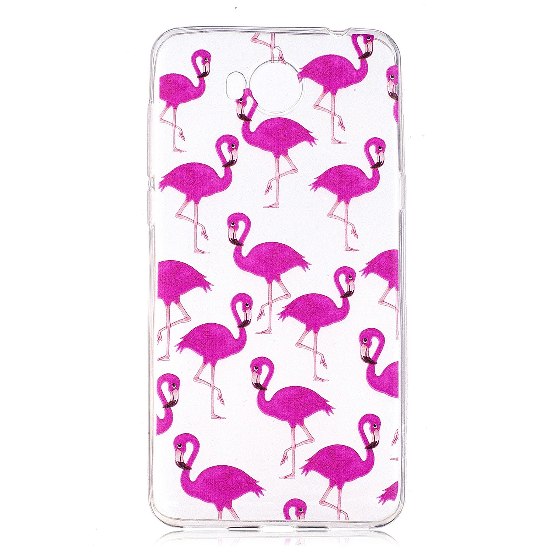 Ultra Slim Antiurto Anti-Graffio Bumper Case Cover per Huawei Y5 2017//Y6 2017 Carino Flamingo Silicone Trasparente Morbida Clear Gel Caso COZY HUT Custodia Huawei Y5 2017//Y6 2017 Cover