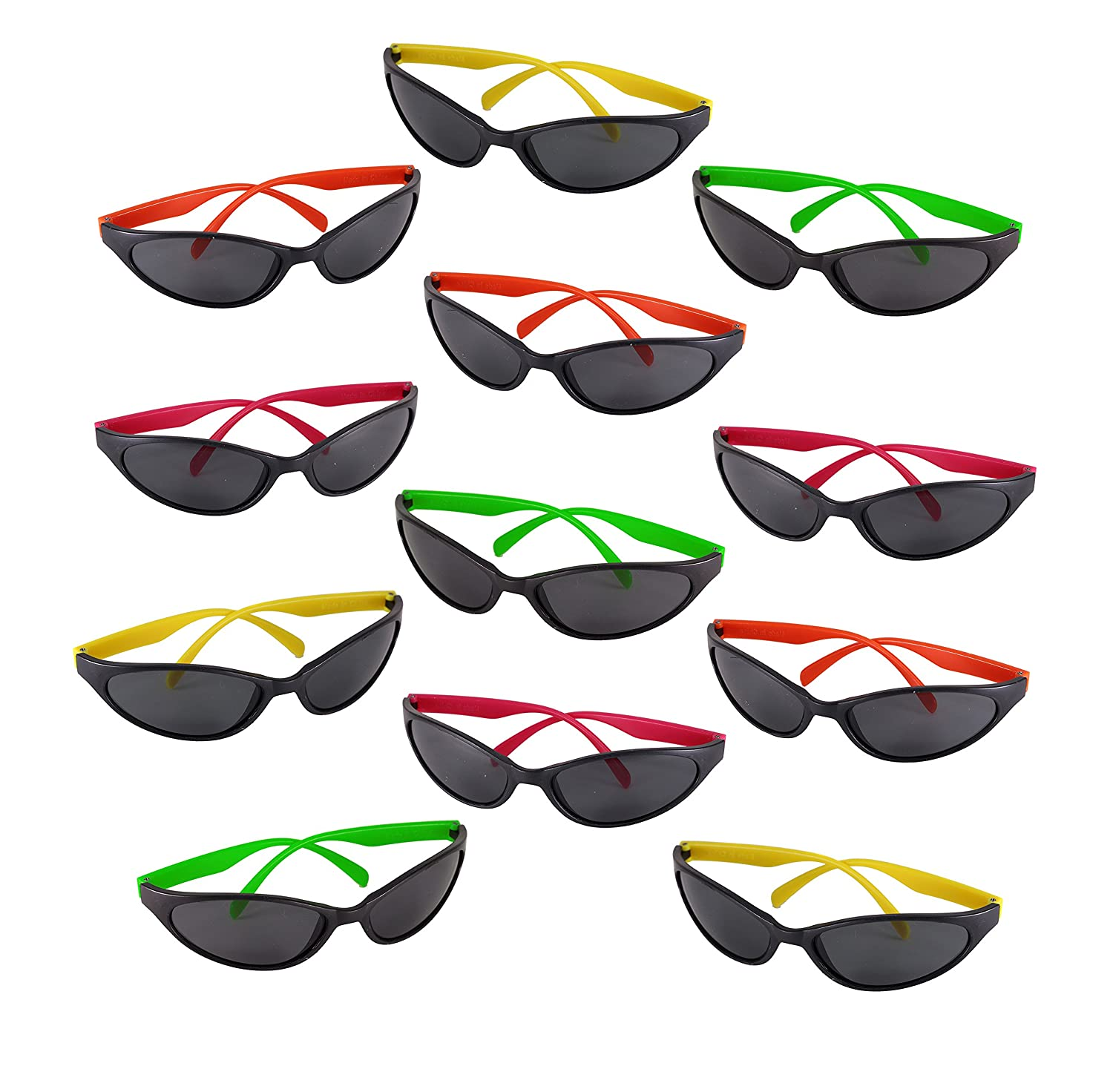 3a9fdaf613b Amazon.com  Smart N. Inc. Stylish Neon Color Sunglasses pack of 12. Great Party  Glasses for outdoor events.  Toys   Games