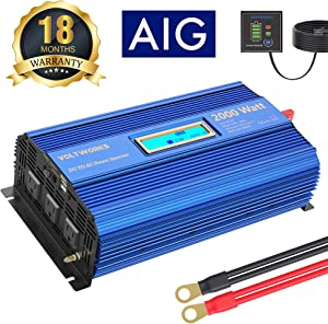 Power Inverter 2000w DC 12Volt to AC 120Volt with 3AC Outlets Dual 2.4A USB Ports Remote Control LCD Display for RV Truck Boat