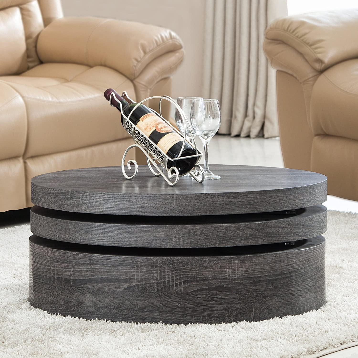 amazon com virrea oak round rotating wood coffee table with 3