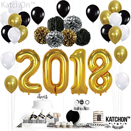 21 Balloons Gold Decorations Set Black White Latex Balloon Large Size Perfect For Event Birthday Party Supplies KatchOn