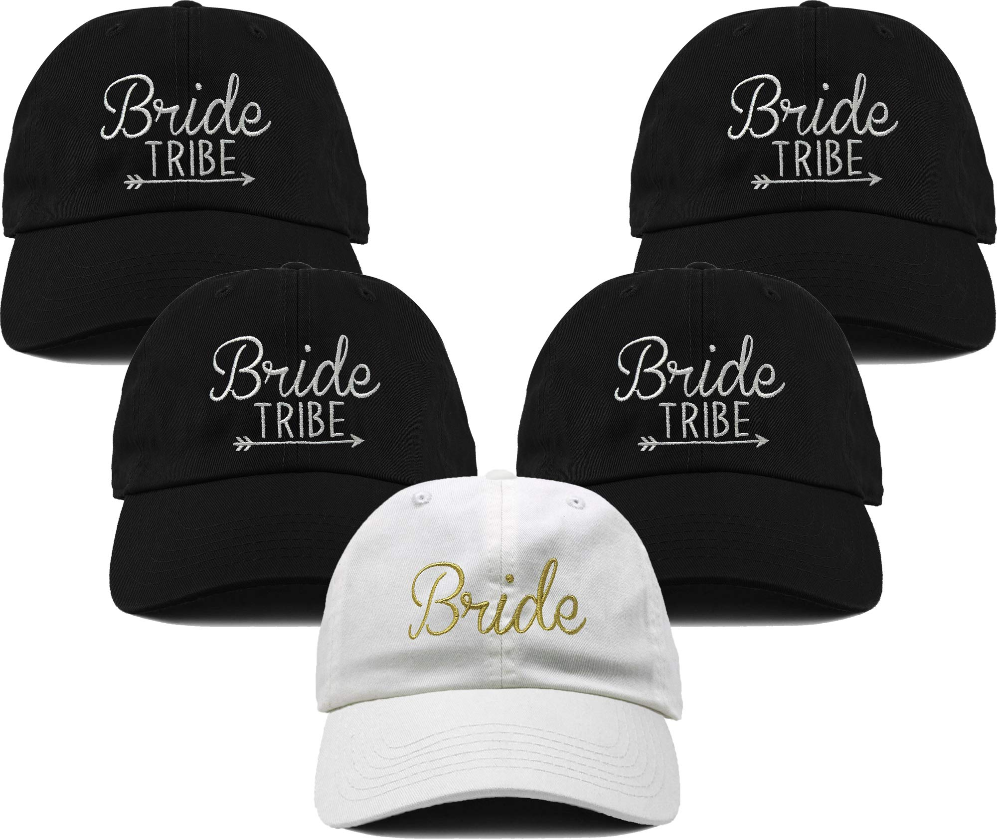 H-214-5-BWG.4BT Dad Hat Bridal Bundle Unconstructed Baseball Cap Bride & 4 Tribe