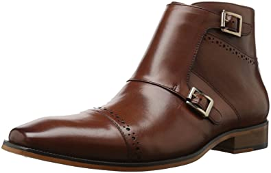 Stacy Adams Men's Kason Cap Toe Double Monk Strap Side Zipper Chukka Boot,  Chestnut,