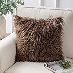 Phantoscope Faux Fur Pillow Cover Decorative Fluffy Throw Pillow Mongolian Soft Fuzzy Pillow Case Cushion Cover for Bedroom and Couch,Coffee 18 x 18 Inches