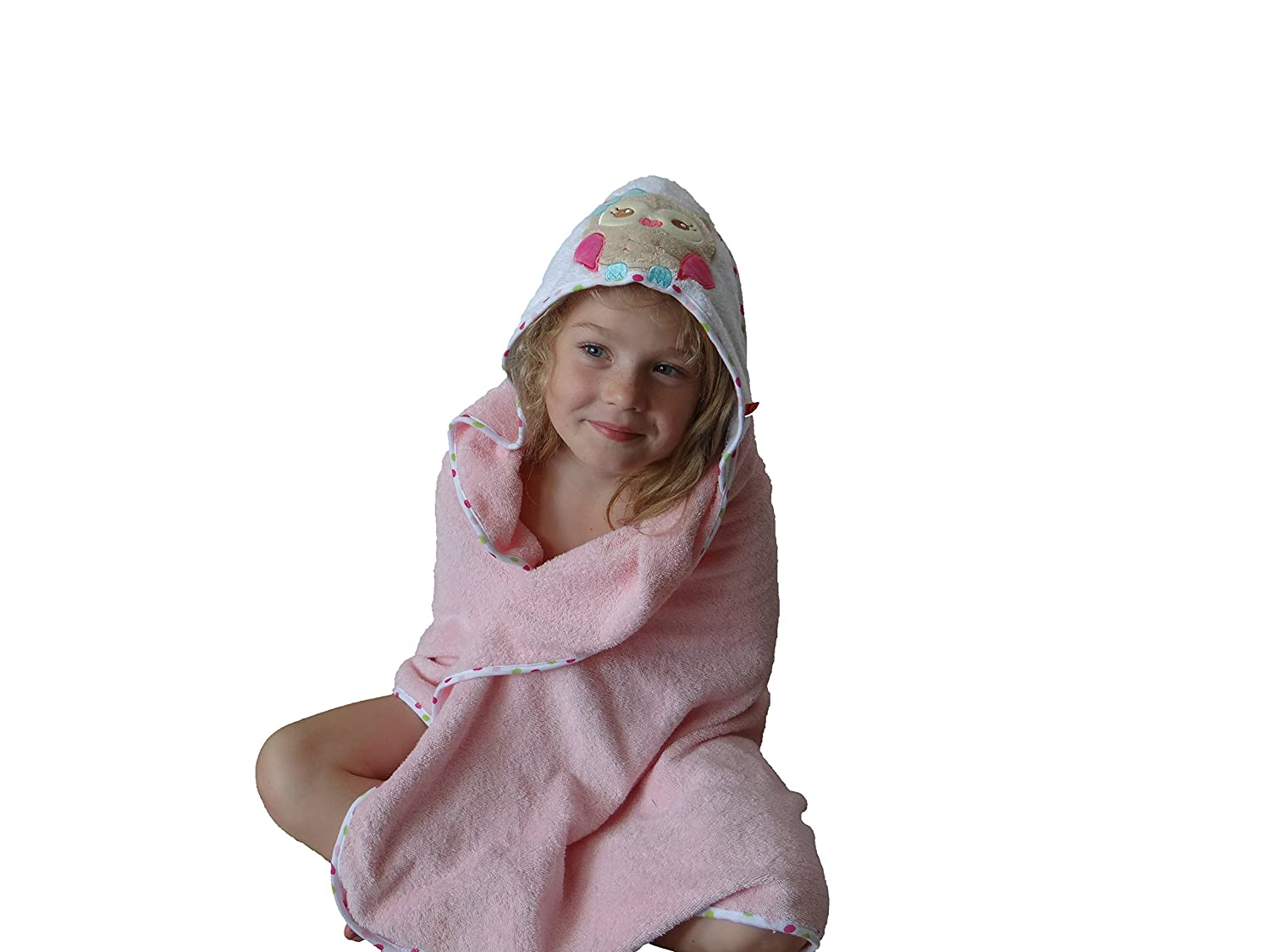 BlueberryShop Embroidered LARGE COTTON HOODED Bath Pool Beach TOWEL Baby Kid Todler Gift 39.5 x 39.5 100 x 100 cm 0-8 Yrs Rosa
