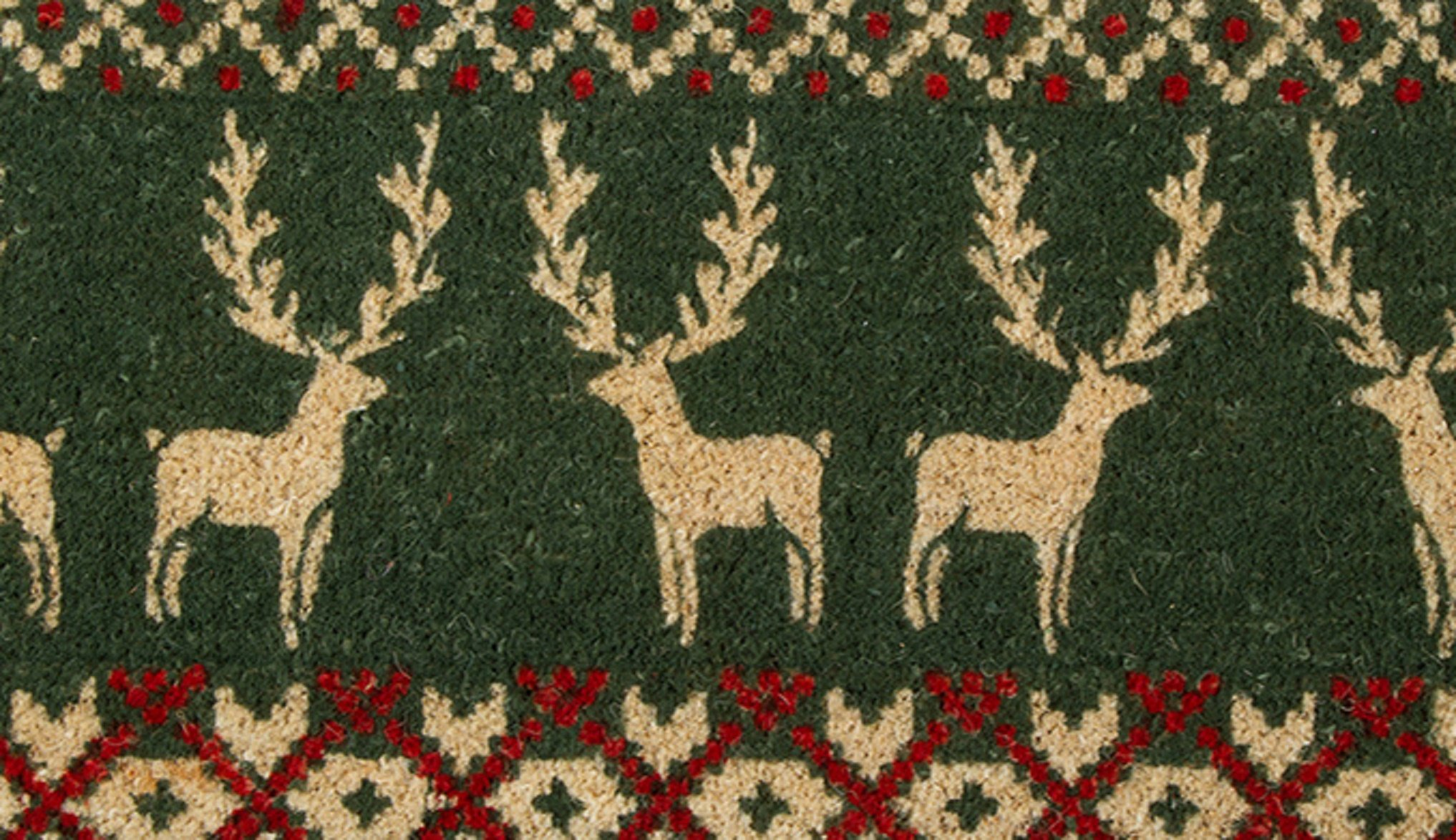 Tag Green Alpine Reindeer Holiday Winter Sweater Estate Coir Mat Front Doormat 40 by 18