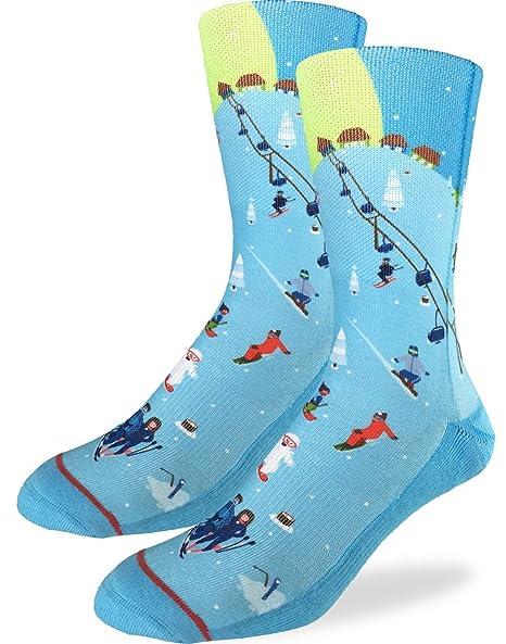 f760a9cf48d7 Amazon.com: Good Luck Sock Men's Skiing Crew Socks - Blue, Adult Shoe Size  8-13: Clothing