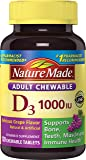 Nature Made Adult Chewable D3 1,000 I.U. Tablets, Grape, 120 Count