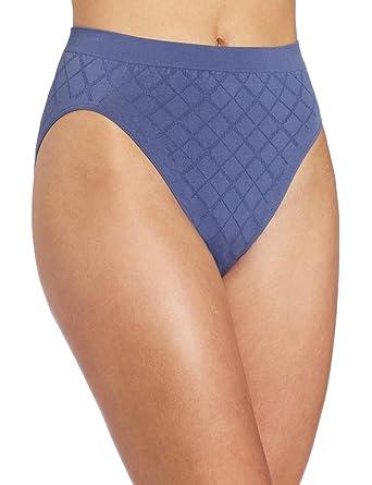 aa415f0be37 Bali Women's Microfiber Pattern Hi-Cut Panty, Bayou Blue Diamond, ...