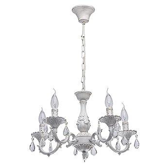 MW-Light 371012605 Lustre Classique Raffiné à 5 Lampes Bougies en Métal  Blanc Patiné en Or pour Salle de Séjour Salon Salle à Manger 5x60W E14