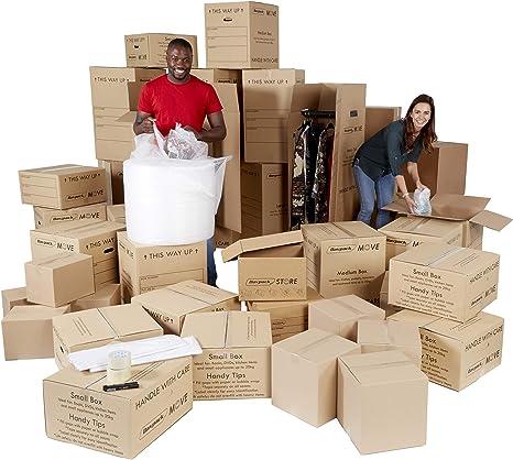 4 – 5 cama Kit para mover – Casa eliminación cartucho de almacenamiento – 40 cajas de cartón y artículos. – ref amk050: Amazon.es: Oficina y papelería
