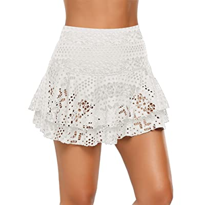 ACKKIA Women's Lace Crochet Skirted Bikini Bottom Swimsuit Short Skort Swimdress: Clothing