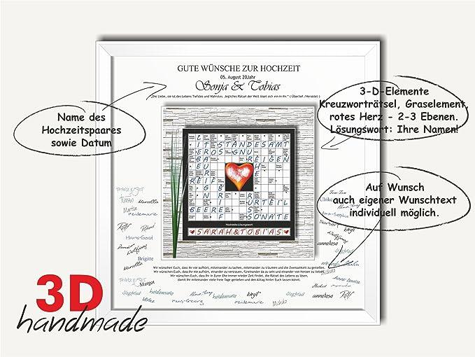 Bilderrahmen Hochzeit Gästebuch Herzen Rätsel 50x50 Geschenk