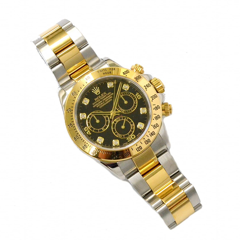 ロレックス ROLEX デイトナ コスモグラフ ダイヤモンド コンビ 腕時計 D番 2004年 AT 自動巻 ブラック文字盤 黒 メンズ 116523G 中古 B07DGT5MR5