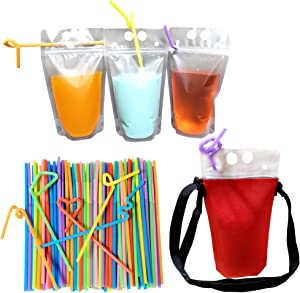 PamperdDrinkrz 4 Reusable Neoprene Drink Insulator Sleeves with Adjustable Lanyard (2 Red/2 Blue) with 20 Drink Pouches, Straws & Snack Travel Bags for Hot Cold or Frozen Drinks for Adults & Kids