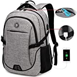 SOLDIERKNIFE Durable Waterproof Anti Theft Laptop Backpack Travel Backpack Bookbag with usb Charging Port for Women & Men Fits 15.6 Inch Laptop and Notebook Including Lock Grey (Color: A-grey, Tamaño: 18.9*12.6*7.9 inches)