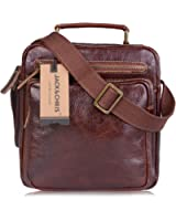 Jack&Chris Men's Retro Leather Soft Shoulder Strap Messenger Bag Ipad Bag,MBPS004