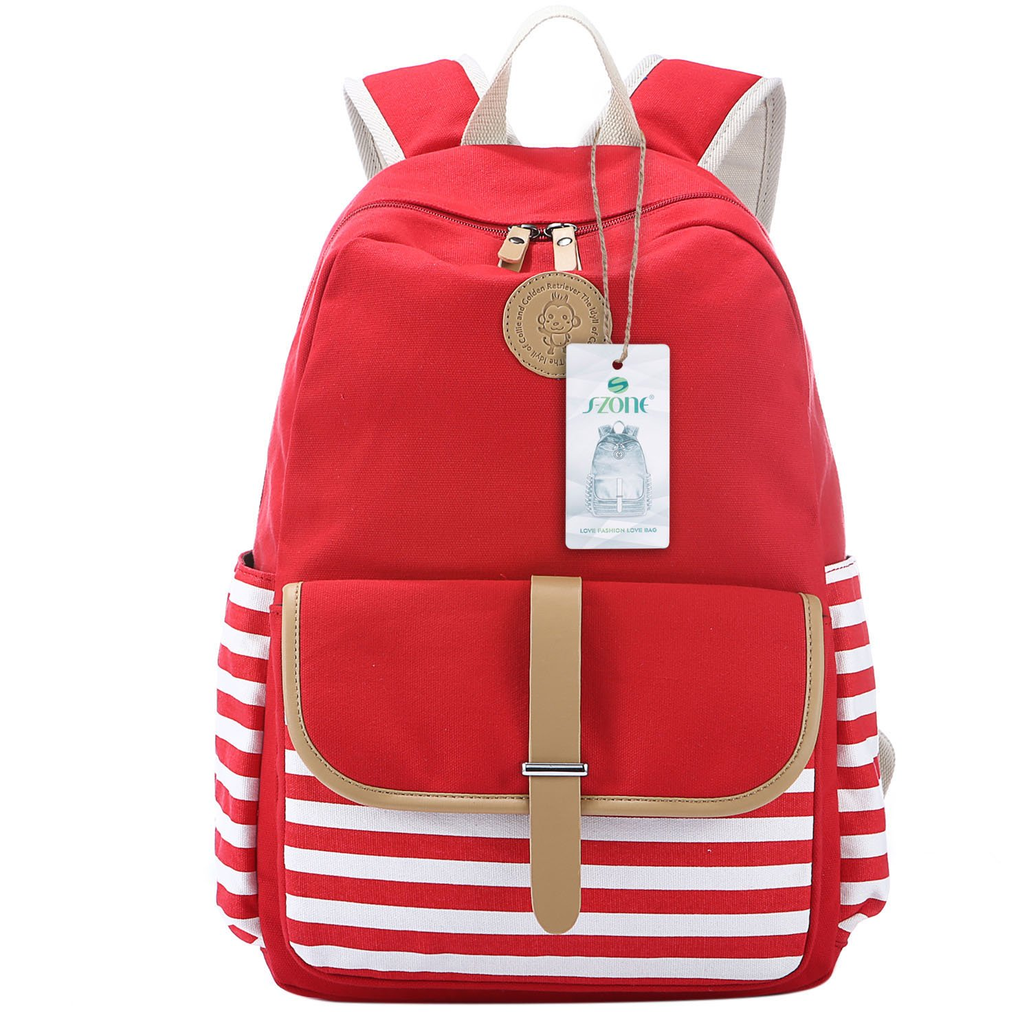 fa87fd968 S-ZONE Large Preppy French Breton Nautical Striped Backpack Rucksack Marine  Sailor Navy Stripy School Bags for Women Ladies Girls (Red): Amazon.co.uk:  ...