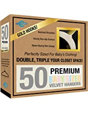 Closet Complete Baby Velvet Hangers, Premium Quality, True-Heavyweight, Virtually-UNBREAKABLE, Ultra-Thin, Space Saving No-Slip, Perfect Size for Babies 0-48 months 360° SPIN, Gold Hooks, Ivory, 50 pc