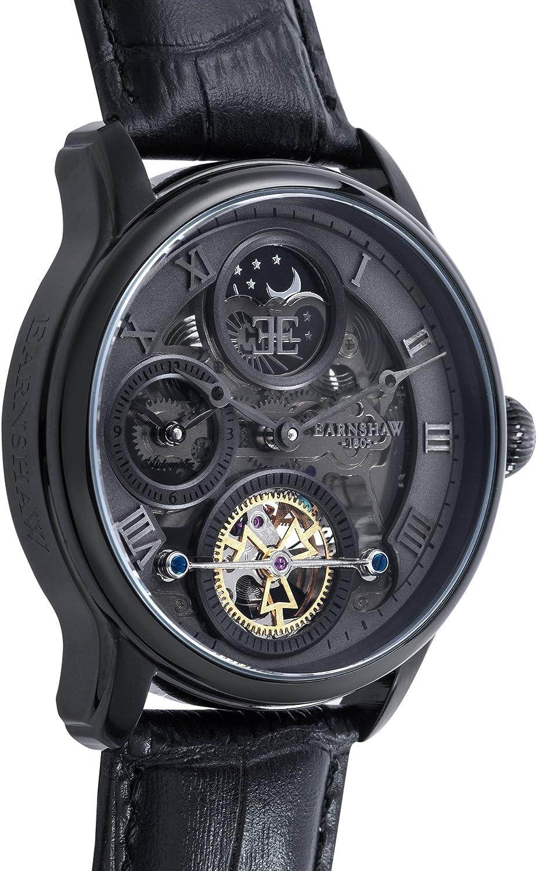 Thomas Earnshaw Longitude Shadow ES 8063 03 Montre automatique pour homme Avec cadran gris à mécanisme apparent et bracelet en cuir noir
