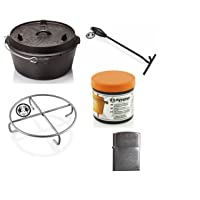 Set Dutch Oven Petromax klein schwarz Gusseisen Garten Camping Picknick ✔ rund