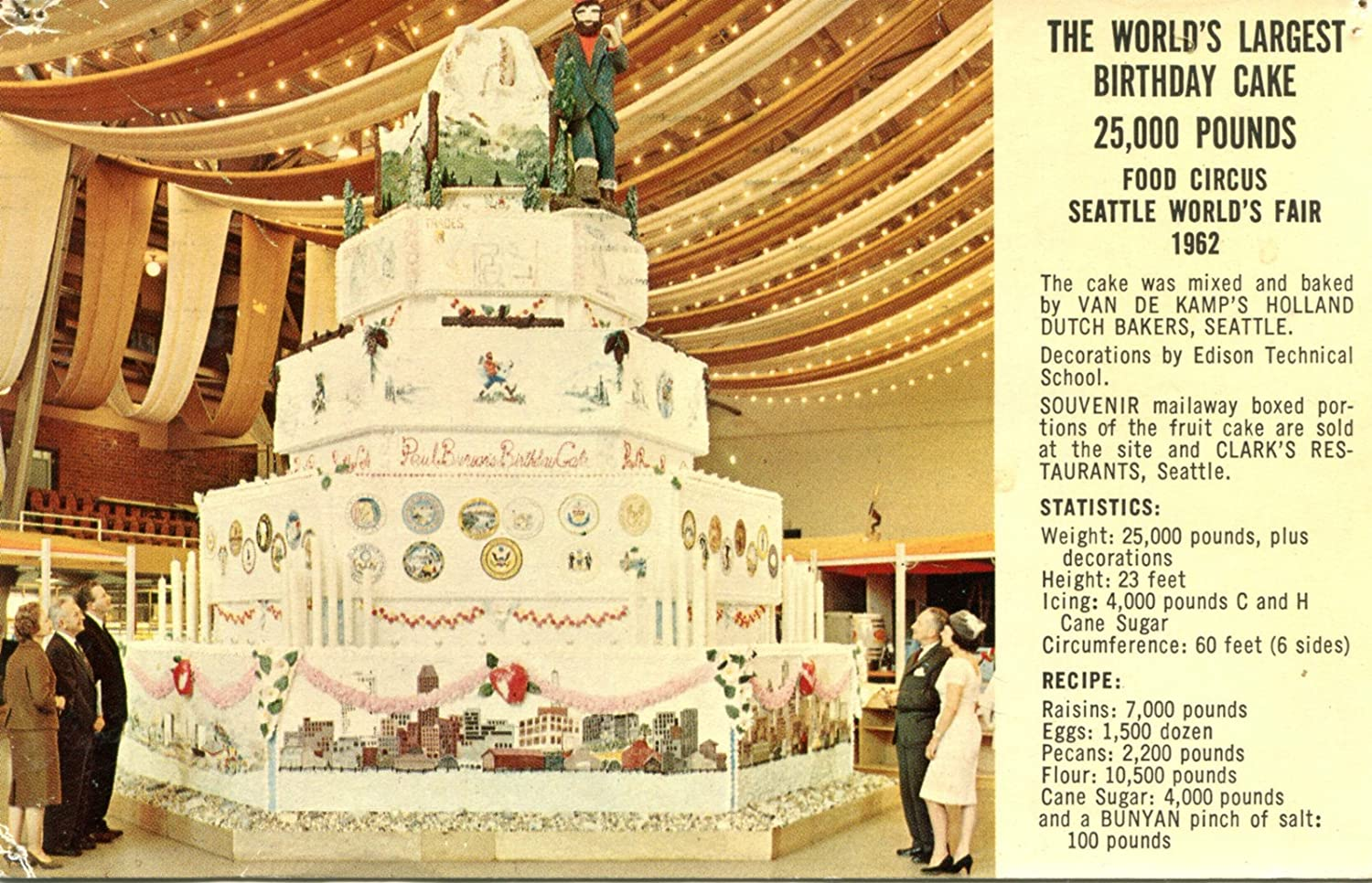 Amazon.com : 1962 World\'s Largest Birthday Cake Seattle Wa World\'s ...