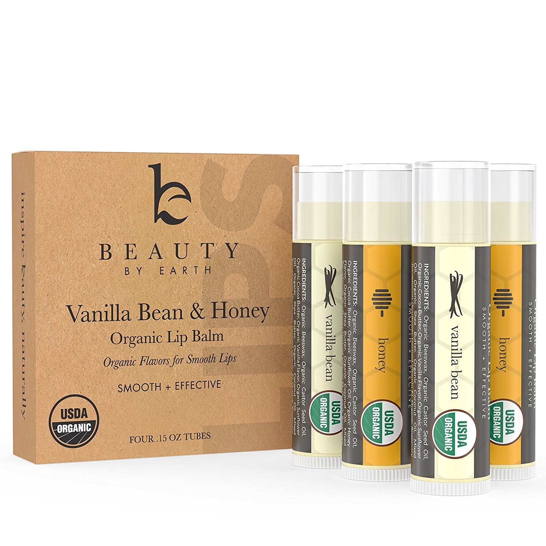 Beauty by Earth l Bálsamo Labial Orgánico (Pack de 4) - Con Sabor a Miel y Vainilla - 100% Natural y Orgánico - Certificado por el Departamento de ...