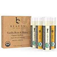 Lip Balm Organic Vanilla Bean and Honey Flavor; Pure and Natural Beeswax Lush Lip Butter with Aloe Vera, Vitamin E for a Clear Gloss Finish; Moisturise, Repair Dry Chapped Lips; 4 tubes in pack