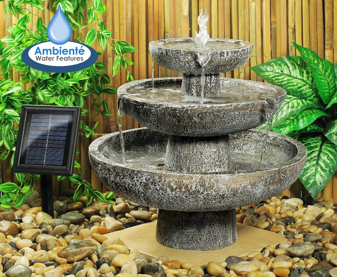 Superbe Ambiente Solar Cascade 3 Tier Fountain Water Feature: Amazon.co.uk: Garden  U0026 Outdoors