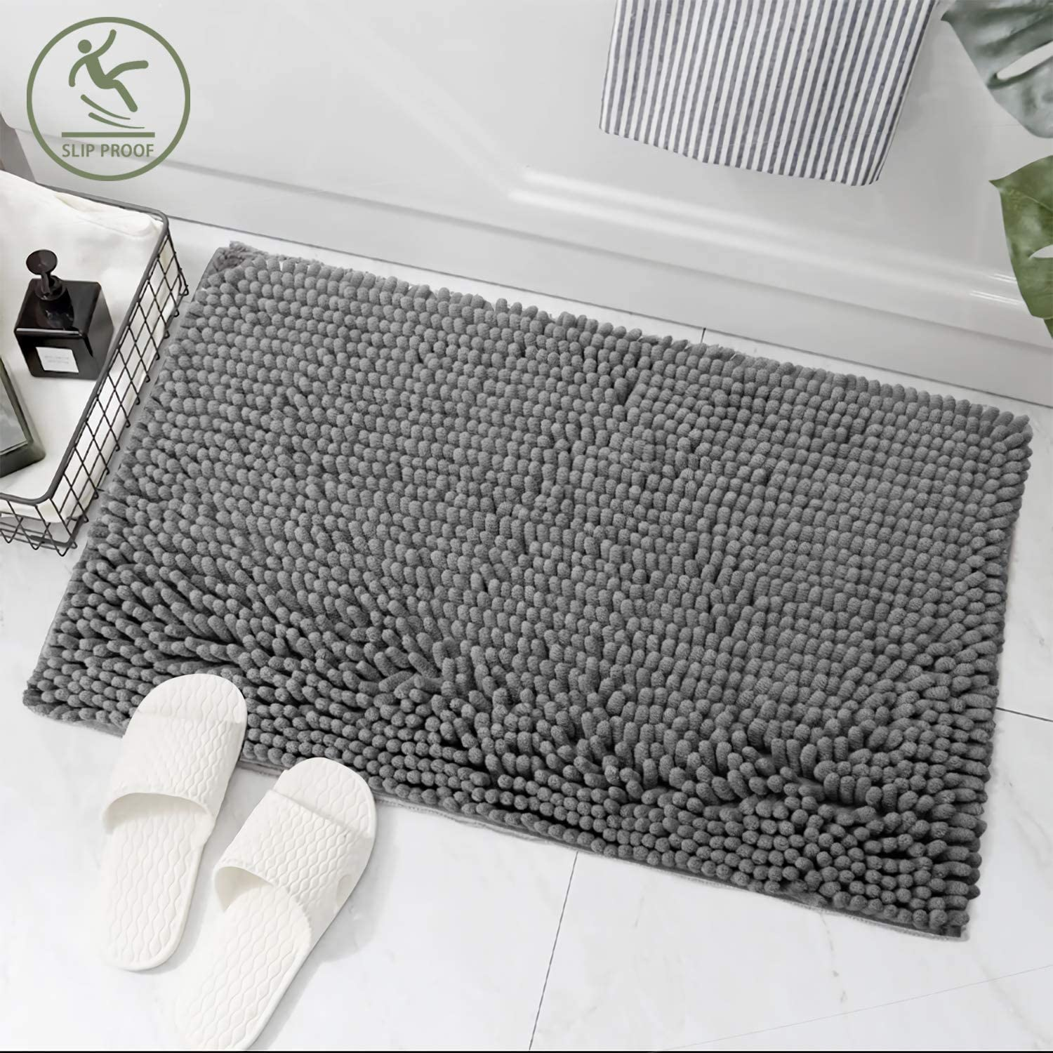Non-Slip Runner Carpet for Tub Bathroom Shower Mat uxcell 17 x 24 Inch Thick Chenille Bath Rugs Soft and Absorbent Microfiber Shaggy Rug Machine-Washable Durable Area Rugs White