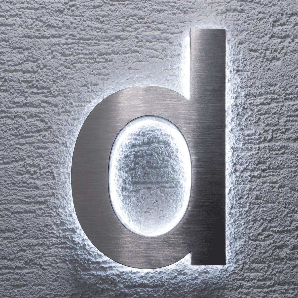Argento 2.00W inossidabile classico a prova di spruzzi dacqua Metzler-Trade numero civico in acciaio inox V2A 12.00V con illuminazione indiretta in 3D a LED bianco