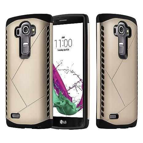Cadorabo LG G4 Funda Hybrid Guarda en Guarda Oro – Cubierta Protectora de Plástico e Silicone TPU con Antichoque – Case Cover Carcasa Protección ...