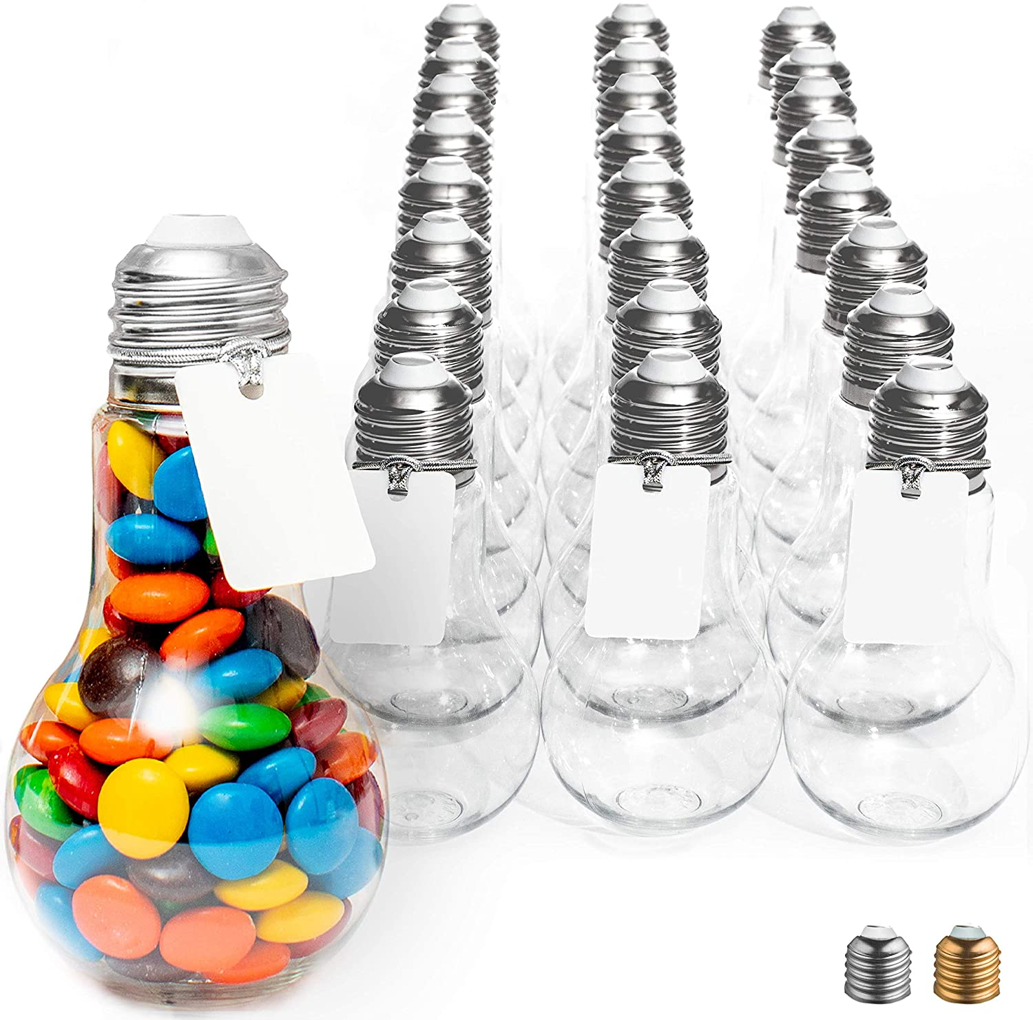 Oklahoma City Mall Plastic Light Bulb Jars Silver - with 24pc Clear Case Max 43% OFF 100ml