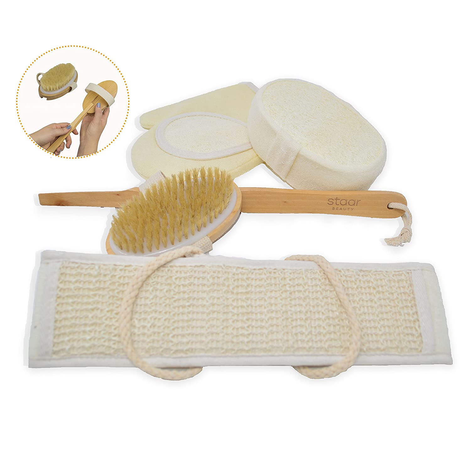 Loofah Bath Set and Dry Brush - Sponge, Loofah Back Scrubber and Glove Plus Dry Brush - This Exfoliating Bath Set Can Improve Skin Health and Cellulite, Remove Dead Skin, Stimulate Blood Circulation Staar Beauty
