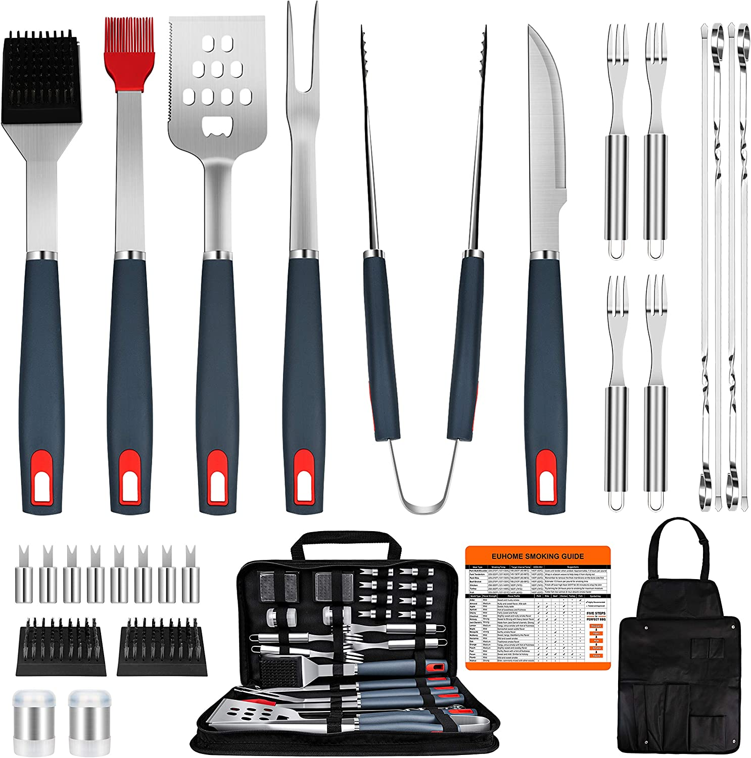 EUHOME BBQ Grill Accessories Heavy Duty Grill Utensils 31 PCS Set Extra Thick Stainless Steel BBQ Grilling Tools with