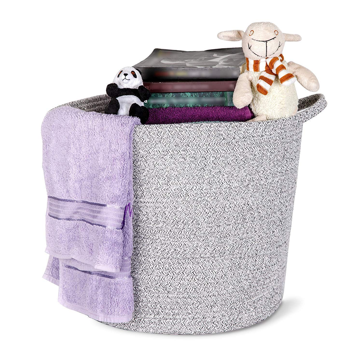 TidlyLand Cotton Rope Basket - Large 15''x14'' Grey Woven Storage Bin with Handles - Tall Nursery Organizer for Clothes, Laundry, Towels and Baby Toys - Natural Round Fabric Hamper for Room Organizing