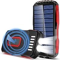 GRDE Power Bank Solar 25000 mAh Cargador Solar con 3 Salidas Y 3 Entrada 2 Linternas(6W) 4 Modo Iluminación IP65 batería…