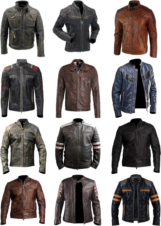 Men/'s Retro Slim Fit Vintage Biker Moto Black Real Leather Jacket