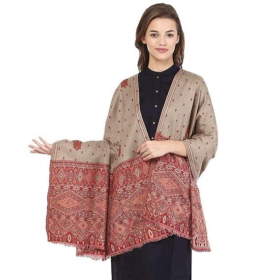 1c89348b00 Pashtush Women's Kashmiri Embroidery Shawl, Jacquard palla, Warm and soft,  Pashmina Design with Sozni Needlework: Amazon.in: Clothing & Accessories