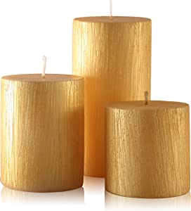 Blend-Divine Set of 3 Gold Pillar Candles Decoration Dinner Wedding Party Candles – Perfect Use for Home Décor - Church-Spa Candle, Restaurant - 1500 gm