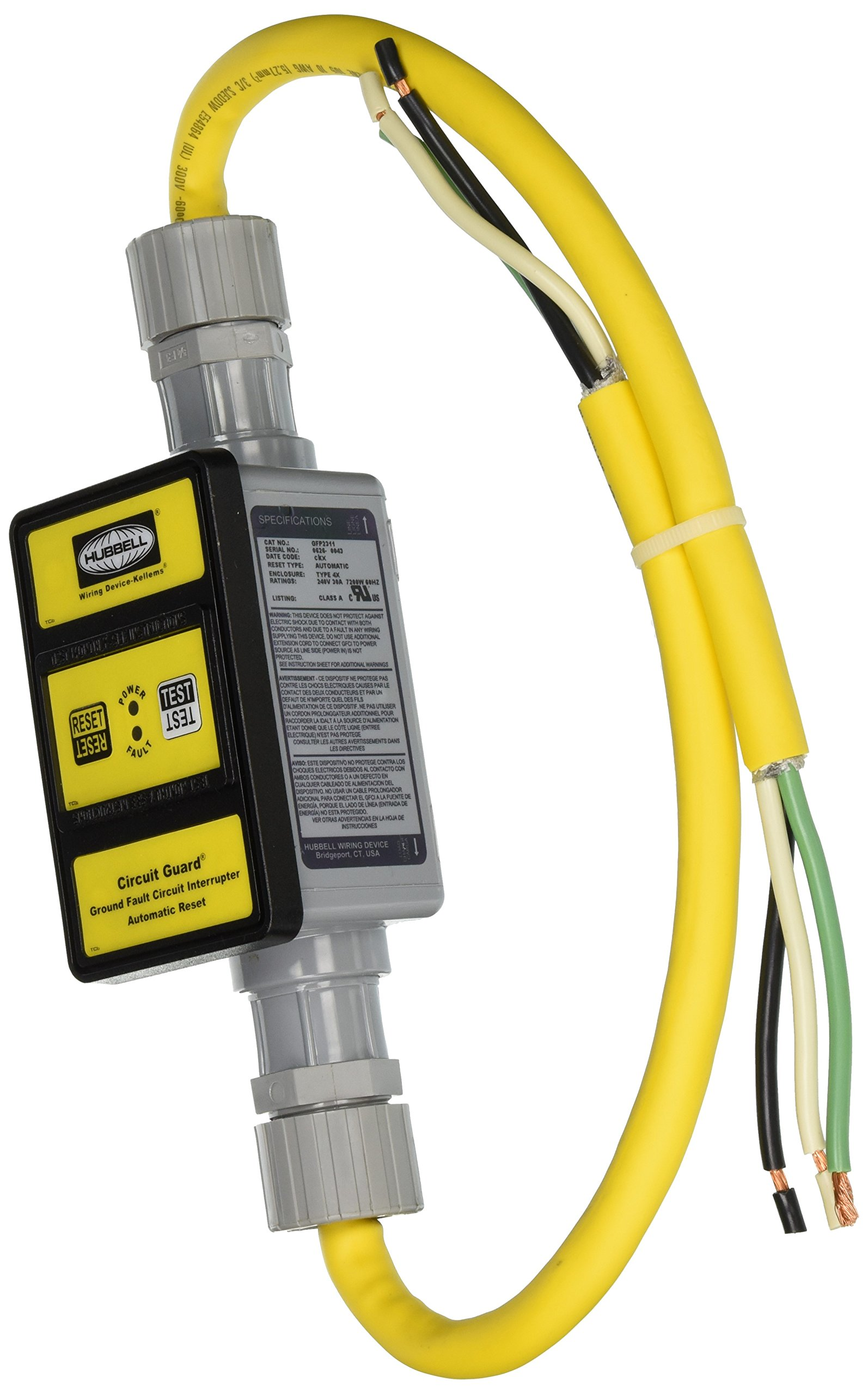 Hubbell GFP2311 Port GFCI, Auto Set, 30 amp, 240V, 2' by Hubbell