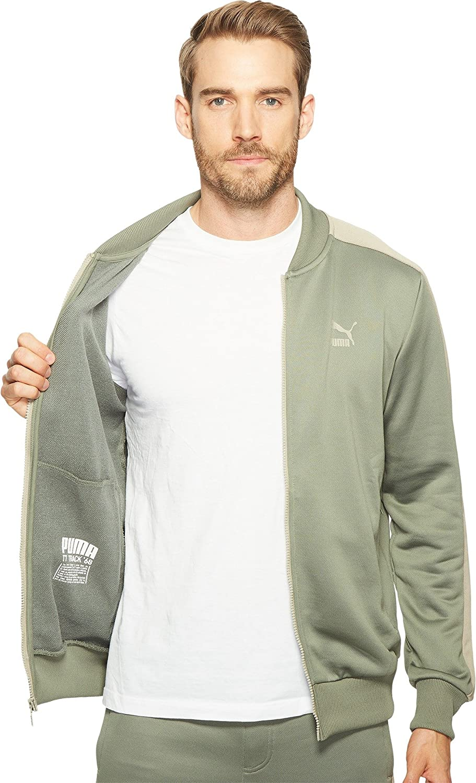 907e8e58a32d PUMA Men s T7 Bomber Jacket Agave Green Vintage Khaki Outerwear   Amazon.co.uk  Clothing
