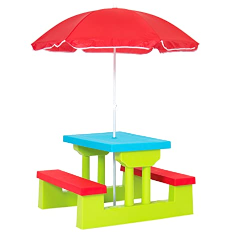 Best Choice Products Kids Garden Table Bench With Umbrella  Multicolor