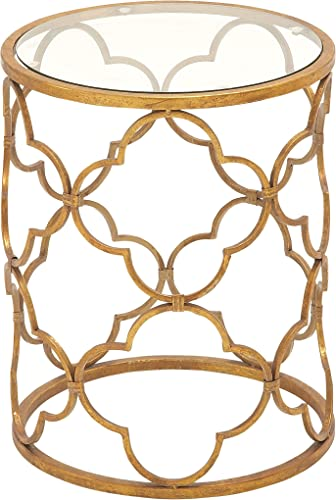 Deco 79 67056 Metal Glass Accent Table, 16 x 20 , Gold