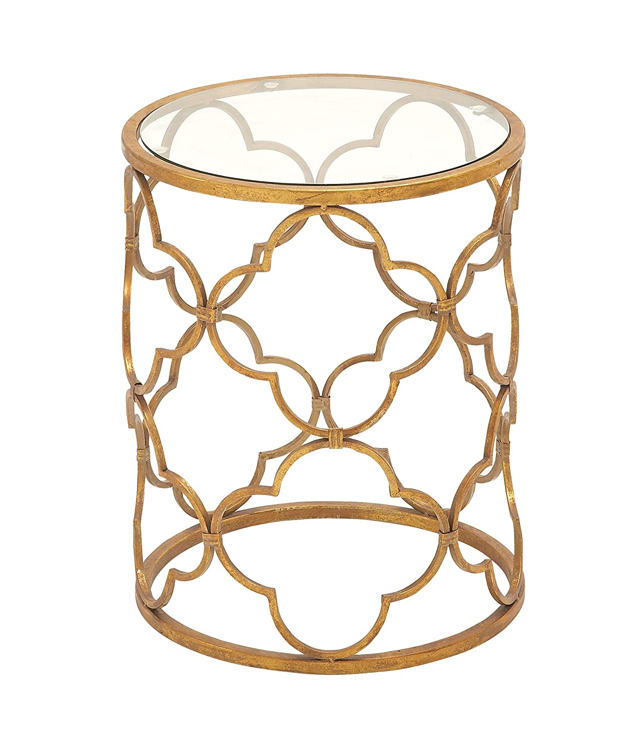 "Deco 79 67056 Metal Glass Accent Table, 16"" x 20"", Gold"